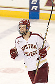 Isaac MacLeod (BC - 7) - The Boston College Eagles defeated the Merrimack College Warriors 4-2 to give Head Coach Jerry York his 900th collegiate win on Friday, February 17, 2012, at Kelley Rink at Conte Forum in Chestnut Hill, Massachusetts.