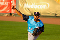 Colorado Springs Sky Sox pitcher Hiram Burgos (13) warms up in the bullpen prior to game two of a Pacific Coast League doubleheader against the Iowa Cubs on August 17, 2017 at Principal Park in Des Moines, Iowa. Iowa defeated Colorado Springs 6-0. (Brad Krause/Four Seam Images)