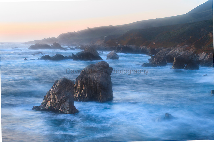 Sea stacks on the shor of california, big sur coast area.