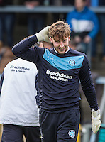 Goalkeeper Alex Lynch of Wycombe Wanderers smiles during warm ups during the Sky Bet League 2 match between Wycombe Wanderers and Leyton Orient at Adams Park, High Wycombe, England on 23 January 2016. Photo by Andy Rowland / PRiME Media Images.