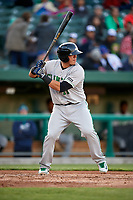 Clinton LumberKings catcher Yojhan Quevedo (11) at bat during a game against the South Bend Cubs on May 5, 2017 at Four Winds Field in South Bend, Indiana.  South Bend defeated Clinton 7-6 in nineteen innings.  (Mike Janes/Four Seam Images)
