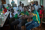Football fans from Senegal watch their national team's Russia 2018 World Cup Group H match against Japan. Hondarribia(Basque Country). June 24, 2018. (Gari Garaialde / BostokPhoto)