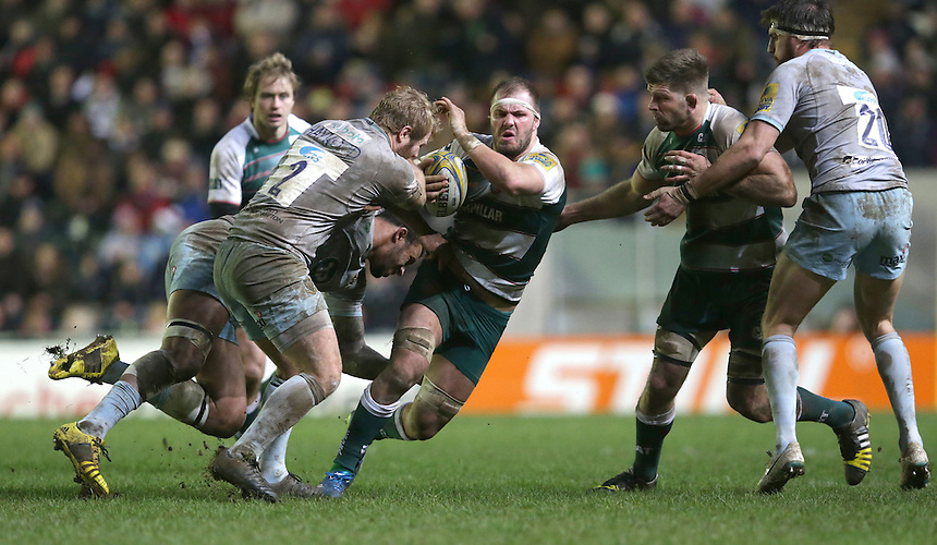 Leicester Tigers' Lachlan McCaffrey is tackled by Northampton Saints' Mikey Haywood during todays game<br /> <br /> Photographer Rachel Holborn/CameraSport<br /> <br /> Rugby Union - Aviva Premiership Round 9 - Leicester Tigers v Northampton Saints - Saturday 9th January 2016 - Welford Road - Leicester<br /> <br /> &copy; CameraSport - 43 Linden Ave. Countesthorpe. Leicester. England. LE8 5PG - Tel: +44 (0) 116 277 4147 - admin@camerasport.com - www.camerasport.com