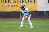 Ogden Raptors right fielder Matt Cogen (49) during a Pioneer League game against the Great Falls Voyagers at Lindquist Field on August 23, 2018 in Ogden, Utah. The Ogden Raptors defeated the Great Falls Voyagers by a score of 8-7. (Zachary Lucy/Four Seam Images)