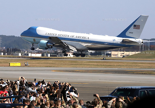 November 5, 2017, Tokyo, Japan - Air Force One aircraft carrying U.S. President Donald Trump and his wife Melania arrives at the Yokota Air Base in Tokyo on Sunday, November 5, 2017. Trump arrived here on a three0day official visit to Japan for the first leg of his Asian tour.    (Photo by Yoshio Tsunoda/AFLO) LWX -ytd-