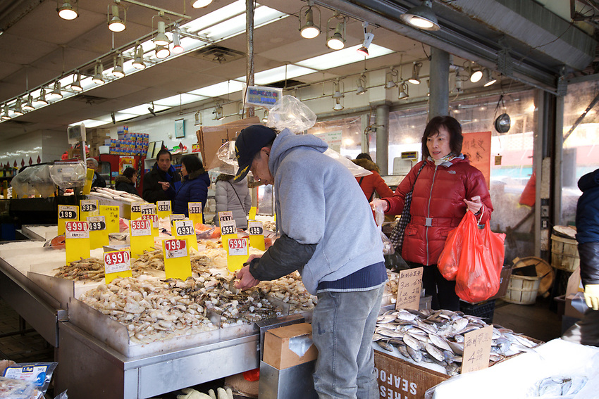BROOKLYN, NY - JANUARY 15, 2016:  One of the many fishmongers along 8th Avenue in Sunset Park. Over the last few decades, this strip has become one of New York's busiest Chinatowns. <br /> LOCATION: 8th Avenue between 58th and 59th Streets.<br /> CREDIT: Clay Williams for the New York Times.<br /> <br /> &copy; Clay Williams / claywilliamsphoto.com