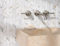 Chevron, shown in polished Calcatta Gold is part of New Ravenna's Studio Line. All mosaics in this collection are ready to ship within 48 hours.