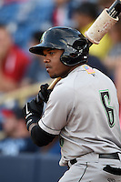 Dayton Dragons outfielder Phil Ervin (6) on deck during a game against the Lake County Captains on June 7, 2014 at Classic Park in Eastlake, Ohio.  Lake County defeated Dayton 4-3.  (Mike Janes/Four Seam Images)