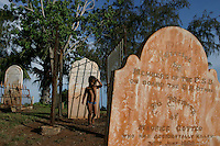Graves of sailors that went down in wet season squalls.  This is Pioneer Cemetery on Town Beach in Broome. Broome has 15,000 regular residents, but swells to 100,000 in tourist season.<br /> April 2000 Eye of cyclone went 40km south of Broome.80 mile beach is 50km south of Broome and gets horrendous weather... cyclones are always slamming this spot.  It is inhabited only with small communities.