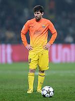 FUSSBALL  CHAMPIONS LEAGUE  ACHTELFINALE  HINSPIEL  2012/2013      AC Mailand - FC Barcelona     20.02.2013 Lionel Messi (Barca) mit Ball