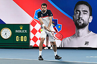 8th January 2020; Sydney Olympic Park Tennis Centre, Sydney, New South Wales, Australia; ATP Cup Australia, Sydney, Day 6; Croatia versus Argentina; Marin Cilic of Croatia versus Guido Pella of Argentina; Marin Cilic of Croatia warms up before the match - Editorial Use
