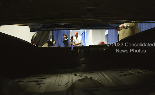 This is a view from the trunk of a mock up of a Chevrolet Caprice used in court during the John Allen Muhammad trial in Virginia Beach Circuit Court in Virginia Beach, Virginia on November 7, 2003. <br /> Credit: Tracy Woodward - Pool via CNP