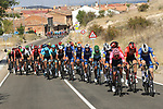 Crosstail winds from Km0 ensured a frantic stage with groups all over the road in echelons here the lead group including Nairo Quintana (COL) Movistar Team wearing the Green Jersey makes up huge time during Stage 17 of La Vuelta 2019  running 219.6km from Aranda de Duero to Guadalajara, Spain. 11th September 2019.<br /> Picture: Luis Angel Gomez/Photogomezsport | Cyclefile<br /> <br /> All photos usage must carry mandatory copyright credit (© Cyclefile | Luis Angel Gomez/Photogomezsport)