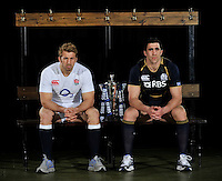 London, England. Chris Robshaw of England and Kelly Brown of Scotland pose with the Six Nations trophy during the RBS Six Nations launch at The Hurlingham Club on January 23, 2013 in London, England.