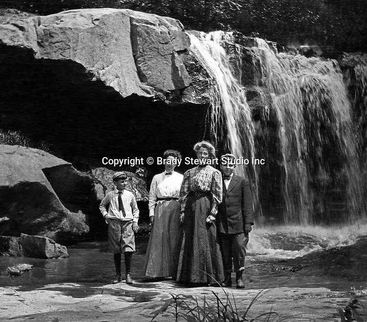 Stewart Township:  View of Alice and Homer Jr Stewart and Brady family at Bear Run Creek1905.  Stewart family went to visit Brady family relatives that lived in Stewart Township.