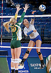 BROOKING, SD - NOVEMBER 13:  Ashley Beaner #1 from SDSU looks to get a kill past Hadley Steffen #10 from NDSU during their game Friday afternoon at Frost Arena in Brookings. (Photo by Dave Eggen/Inertia)