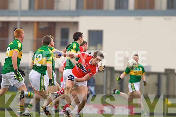 \\ Kerry in action against Aidan Walsh Cork in the National Football League at Austin Stack park, Tralee on Sunday.