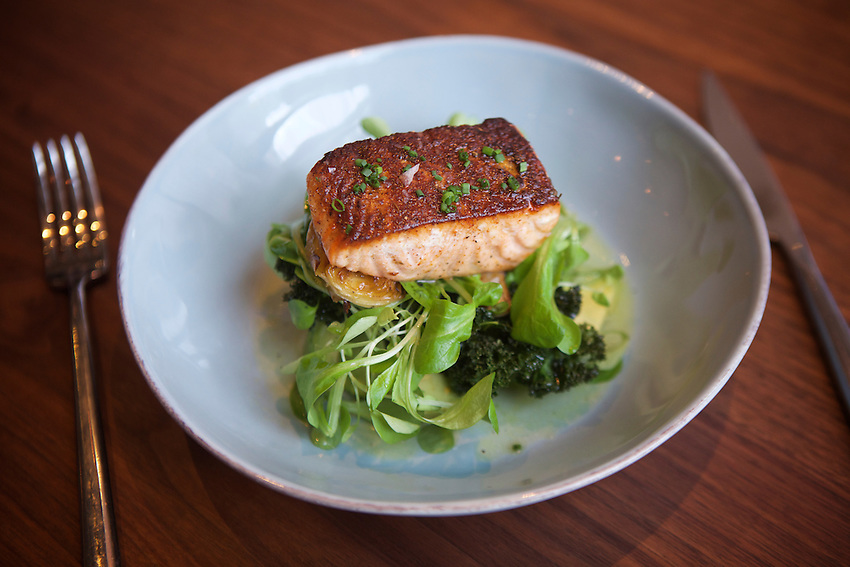 New York, NY - May 17, 2016: King Salmon with spring beans and green garlic crumbs at Laurent Tourondel's L'Amico by chef Larry Baldwin in the Eventi Hotel in Midtown South.<br /> <br /> CREDIT: Clay Williams for Haute Life.<br /> <br /> &copy; Clay Williams / claywilliamsphoto.com