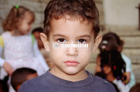 Portrait of a nursery school boy in playground in Havana; Cuba,
