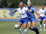 BROOKINGS, SD - SEPTEMBER 4:  Lauren Kressock #5 from South Dakota State controls the ball in front of Mackenzie Graybill #11 from Creighton during their match Sunday afternoon at Fischback Soccer Complex in Brookings. (Photo by Dave Eggen/Inertia)