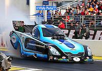 Feb 7, 2014; Pomona, CA, USA; NHRA funny car driver Jeff Diehl during qualifying for the Winternationals at Auto Club Raceway at Pomona. Mandatory Credit: Mark J. Rebilas-