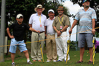 Declan Kelly (Ambassador) and Ron Anderson with Damien McGrane (IRL) during Round 3 of the Maybank Malaysian Open at the Kuala Lumpur Golf & Country Club on Saturday 7th February 2015.<br /> Picture:  Thos Caffrey / www.golffile.ie