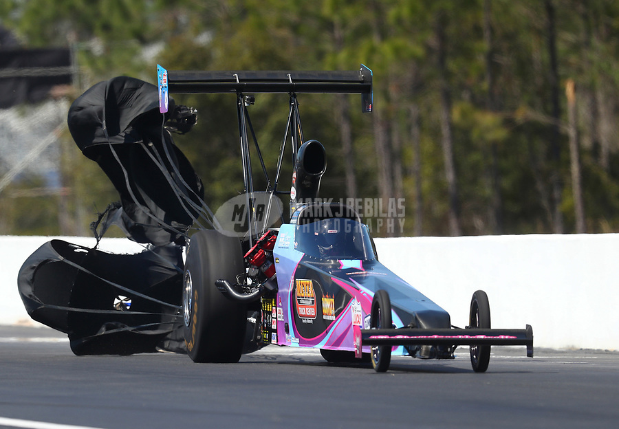 Mar 17, 2017; Gainesville , FL, USA; NHRA top alcohol dragster driver Megan Meyer during qualifying for the Gatornationals at Gainesville Raceway. Mandatory Credit: Mark J. Rebilas-USA TODAY Sports