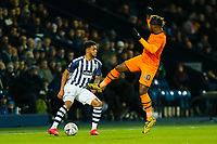 3rd March 2020; The Hawthorns, West Bromwich, West Midlands, England; English FA Cup Football, West Bromwich Albion versus Newcastle United; Allan Saint-Maximin of Newcastle United leaps into a challenge against Darnell Furlong of West Bromwich Albion