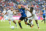 FC Internazionale Midfielder Joao Mario (C) fights for the ball with Chelsea Midfielder Charly Musonda (L) and Victor Moses during the International Champions Cup 2017 match between FC Internazionale and Chelsea FC on July 29, 2017 in Singapore. Photo by Weixiang Lim / Power Sport Images