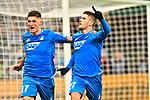 01.12.2018, wirsol Rhein-Neckar-Arena, Sinsheim, GER, 1 FBL, TSG 1899 Hoffenheim vs FC Schalke 04, <br /> <br /> DFL REGULATIONS PROHIBIT ANY USE OF PHOTOGRAPHS AS IMAGE SEQUENCES AND/OR QUASI-VIDEO.<br /> <br /> im Bild: Andrej Kramaric (TSG Hoffenheim #27) jubelt mit Steven Zuber (TSG Hoffenheim #17) ueber sein Tor zum 1:0<br /> <br /> Foto &copy; nordphoto / Fabisch