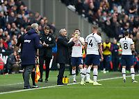 23rd November 2019; London Stadium, London, England; English Premier League Football, West Ham United versus Tottenham Hotspur; Tottenham Hotspur Manager Jose Mourinho giving instructions to Toby Alderweireld of Tottenham Hotspur from the touchline during a drinks break - Strictly Editorial Use Only. No use with unauthorized audio, video, data, fixture lists, club/league logos or 'live' services. Online in-match use limited to 120 images, no video emulation. No use in betting, games or single club/league/player publications