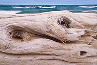 A driftwood log on Twelvemile Beach and Lake Superior waves in Pictured Rocks National Lakeshore near Grand Marais, Mich.