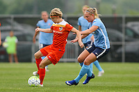 Piscataway, NJ - Saturday July 09, 2016: Rebecca Moros, Leah Galton during a regular season National Women's Soccer League (NWSL) match between Sky Blue FC and the Houston Dash at Yurcak Field.