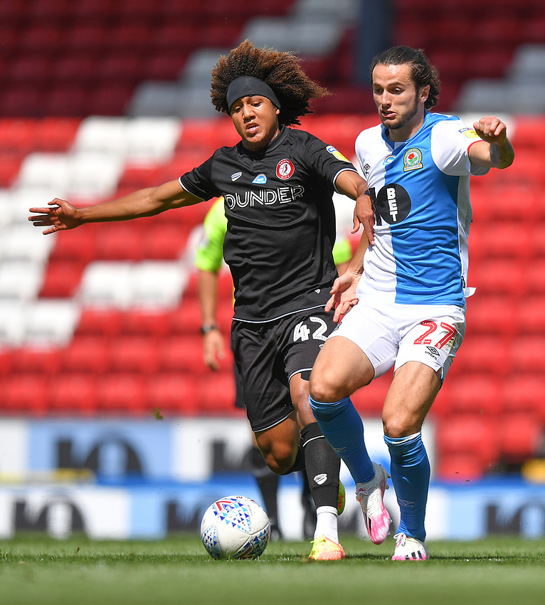 Blackburn Rovers' Lewis Travis battles with Bristol City's Han-Noah Massengo<br /> <br /> Photographer Dave Howarth/CameraSport<br /> <br /> The EFL Sky Bet Championship - Blackburn Rovers v Bristol City - Saturday 20th June 2020 - Ewood Park - Blackburn<br /> <br /> World Copyright © 2020 CameraSport. All rights reserved. 43 Linden Ave. Countesthorpe. Leicester. England. LE8 5PG - Tel: +44 (0) 116 277 4147 - admin@camerasport.com - www.camerasport.com