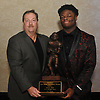 Kevon Hall of Roosevelt, 2018 Thorp Award recipient, poses for a portrait with Gregg Sarra of Newsday at the annual Nassau County Gridion Banquet at Crest Hollow Country Club in Woodbury on Wednesday, Dec. 5, 2018.