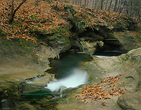Starved Rock State Park, IL: Armstrong Creek flowing through sandstone pools above the Illinois Canyon