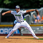 3 September 2018: Vermont Lake Monsters pitcher Clark Cota on the mound against the Tri-City ValleyCats at Centennial Field in Burlington, Vermont. The Lake Monsters defeated the ValleyCats 9-6 in the last game of the 2018 NY Penn League regular season. Mandatory Credit: Ed Wolfstein Photo *** RAW (NEF) Image File Available ***