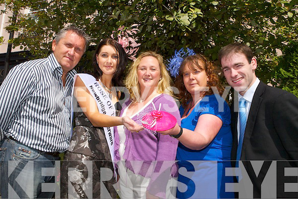 HATS OFF TO YOU: Getting ready for the Craft Fair during the Rose of Tralee from l-r were: Oliver Hurley, Katherine Feeney (Rose of Tralee), Georgina Maher (Arty Bits), Catherine Fitzmorris (head-dress designer)and John Doyle (PR manager, Abbey Gate Hotel)..