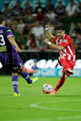 03.04.2016. NIB Stadium, Perth, Australia. Hyundai A League. Perth Glory versus Melbourne City. Bruno Fornaroli shoots towards goal during the second half.