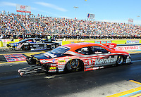 Sept. 24, 2011; Ennis, TX, USA: NHRA pro stock driver V. Gaines (near lane) races alongside Erica Enders during qualifying for the Fall Nationals at the Texas Motorplex. Mandatory Credit: Mark J. Rebilas-