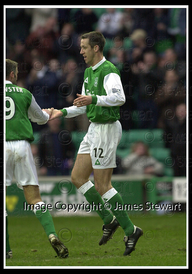 16/02/2002                 Copyright Pic : James Stewart .Ref :     .File Name : stewart-hibs v dunfermline 13.DEREK TOWNSLEY CELEBRATES WITH CRAIG BREWSTER AFTER SCORING THE EQUALISER....James Stewart Photo Agency, Stewart House, Stewart Road, Falkirk. FK2 7AS      Vat Reg No. 607 6932 25.Office     : +44 (0)1324 630007     .Mobile  : + 44 (0)7721 416997.Fax         :  +44 (0)1324 630007.E-mail  :  jim@jspa.co.uk.If you require further information then contact Jim Stewart on any of the numbers above.........