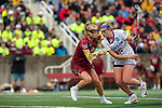 STONY BROOK, NY - MAY 27: Haley Warden #25 of the James Madison Dukes is defended by Dempsey Arsenault #18 of the Boston College Eagles during the Division I Women's Lacrosse Championship held at Kenneth P. LaValle Stadium on May 27, 2018 in Stony Brook, New York. (Photo by Ben Solomon/NCAA Photos via Getty Images)