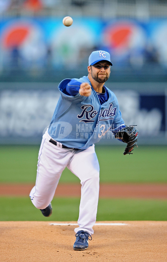 Oct. 2, 2010; Kansas City, MO, USA; Kansas City Royals pitcher Kyle Davies throws in the first inning against the Tampa Bay Rays at Kauffman Stadium. Mandatory Credit: Mark J. Rebilas-