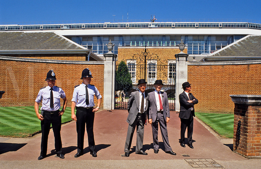 Ascot Racecourse, Berkshire, England.  Stewards and police at entrance to racecourse enclosures.  Not released.  Royal entrance.  Royal Ascot week.