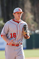 Kyle Wilson of the North Carolina State Wolfpack running in from the field during  a game against  the Coastal Carolina University Chanticleers at the Baseball at the Beach Tournament held at BB&T Coastal Field in Myrtle Beach, SC on February 28, 2010.