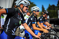 The NZ team prepare for race one of the Trust House Women's Cycle Tour Of New Zealand in Masterton, New Zealand on Wednesday, 18 February 2015. Photo: Dave Lintott / lintottphoto.co.nz