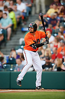 Richmond Flying Squirrels second baseman Dillon Dobson (28) at bat during a game against the Trenton Thunder on May 11, 2018 at The Diamond in Richmond, Virginia.  Richmond defeated Trenton 6-1.  (Mike Janes/Four Seam Images)