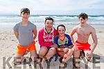 Daniel Hendrickson, Mary and Sinead Flynn and Ronan Pierce from Ardfert enjoying the sun in   <br /> Banna beach on Tuesday.