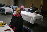 NWA Democrat-Gazette/CHARLIE KAIJO Dianna Dauzart of Rogers enjoys a meal with her daughter Kellie Dauzart (not pictured) on Thursday, January 4, 2018 at Samaritan Community Center in Rogers.<br />