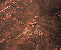 The Hummingbird  Nasca Lines National Archeological Park, Peru     Ancient geoglyphs of unkown origin   World's largest geoglyphs   Nasca Plain  UNESCO World Heritage Site
